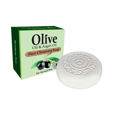 HERBOLIVE SOAP FACE ROUND ARGAN (NORMAL SKIN) WHITE