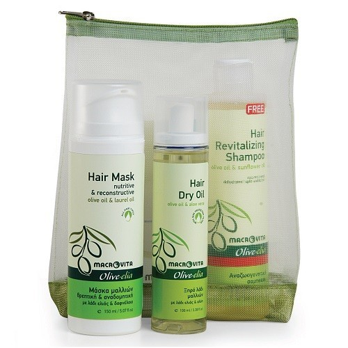 GIFT SET OLIVE-ELIA Hair Mask+Hair dry oil+Hair revitalizing shampoo