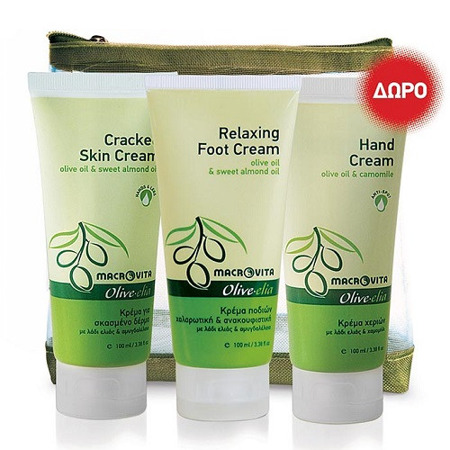 GIFT SET OLIVE-ELIA - Cracked skin cream+Relaxing foot cream+Hand cream
