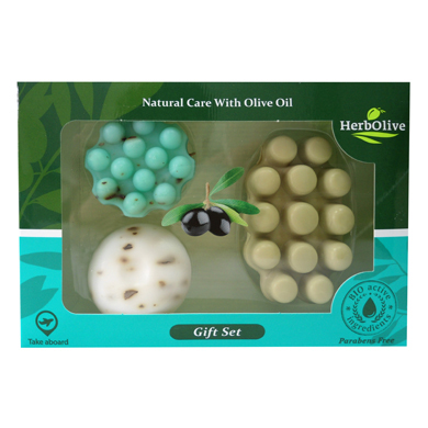 HERBOLIVE GIFT SET Nr7 (2 SOAPS 55gr & 1 SOAP GREEN MASSAGE)
