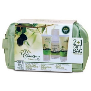GIFT SET OLIVE-ELIA Ultra fine moist.cream+Face cleansing foam 3in1+Face peeling